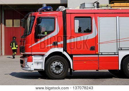 Big Red Fire Engine Truck During A Fire Drill
