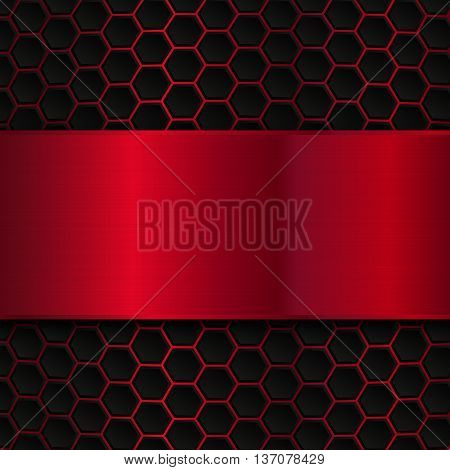 Geometric pattern of hexagons with red metallic banner, Abstract metal template background