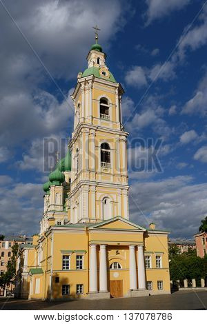 ST. PETERSBURG, RUSSIA - JUNE 12, 2015: Church of the Annunciation on Vasilevsky island. Built in 1749-1763, the church is one of the only two surviving churches on the island