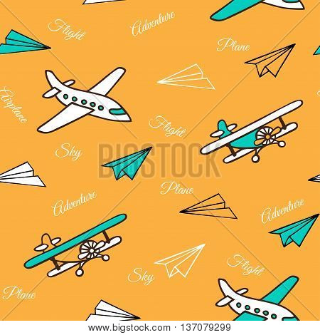 Yellow seamless pattern of cute airplanes. Aircraft and paper airplanes hand-drawn. Vector illustration in a sketch style.