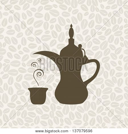 The Arabic coffee pot on the coffee background - vector illustration. Seamless pattern with coffee.