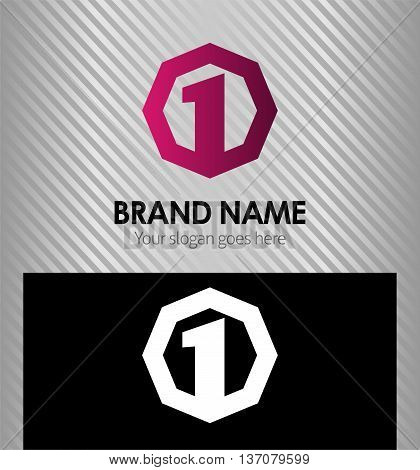 Number logo design.Number one logo.Logo 1 vector template