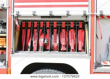 Big Red Fire Truck Hoses Fighting Services In Fire Truck