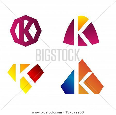 Abstract Letter k Icon template design vector