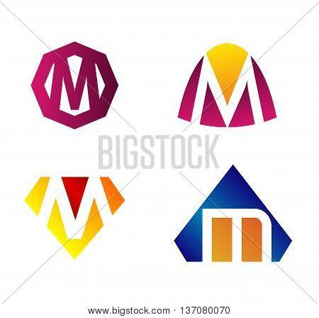 Letter m Alphabetical Logo Design Concepts template design vector