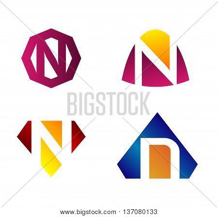 Letter n Alphabetical Logo Design Concepts template design vector