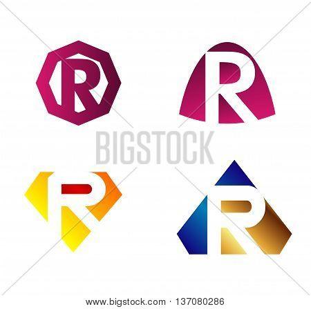 Letter r Alphabetical Logo Design Concepts template design vector