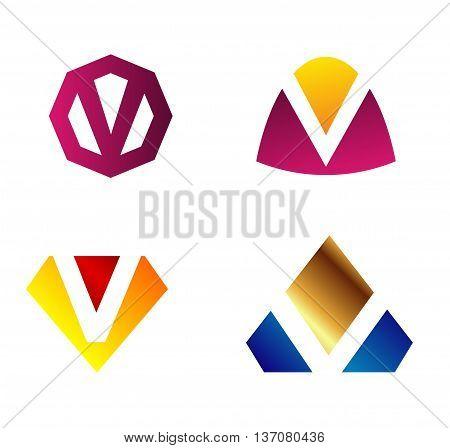 Letter v Alphabetical Logo Design Concepts template design vector
