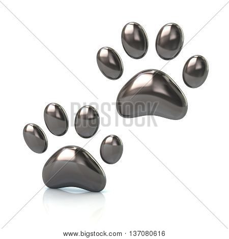 3D Illustration Of Two Cat's Silver Paws