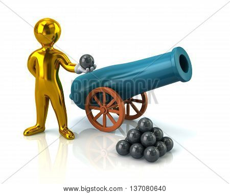 Illustration Of Golden Man And Artillery Gun