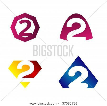 Vector sign spherical number 2 template design vector