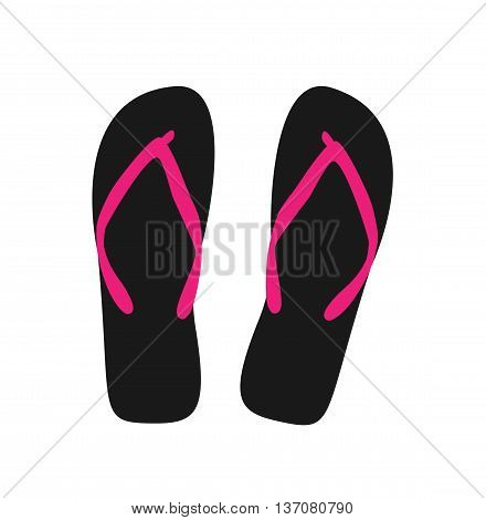 Pair of flip-flops. Vector illustration. black color