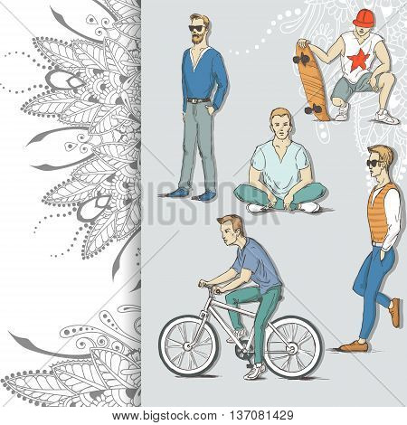 Hand drawn illustration of young guys in sketch style on floral background. Vector illustration for greeting card poster or print on clothes.