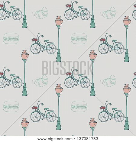 seamless pattern with romantic bike, lamppost, croissant