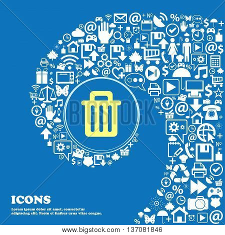 Recycle Bin Sign Symbol. Nice Set Of Beautiful Icons Twisted Spiral Into The Center Of One Large Ico