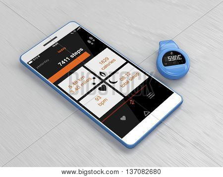 Activity tracker syncs with smartphone, 3D illustration