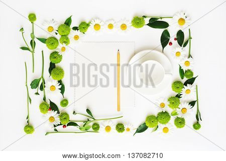Paper, Pencil And Cup For Coffee Or Tea With Wreath Frame.
