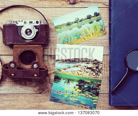 Film Camera, Magnifying Glass, Foto And Photo Album.