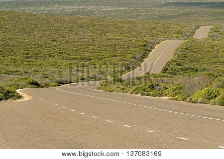 Boxer Drive, windy wavy roadway, located on Kangaroo Island, South Australia