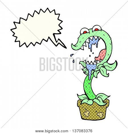 freehand drawn comic book speech bubble cartoon carnivorous plant