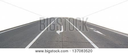 Road straight isolated on white background. Object with clipping path.
