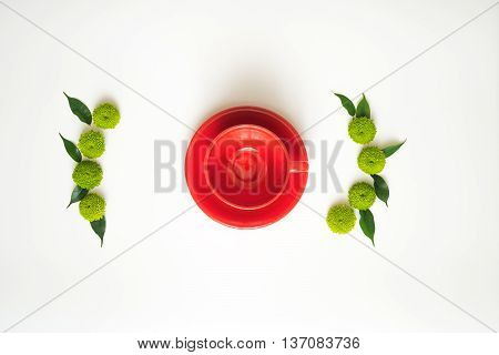 Red Cup For Coffee Or Tea With Decoration.