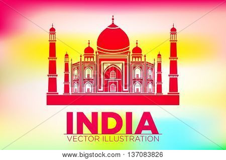 Stencil Of The Taj Mahal On A Sunset Background. Vector