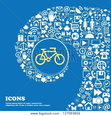 Bike Sign Symbol. Nice Set Of Beautiful Icons Twisted Spiral Into The Center Of One Large Icon. Vect