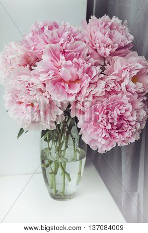 Fresh bunch of pink peonies roses flowers green leaf in glass vase on the window sill white background. Summer time concept. Still life rustic style. Fresh floral home decor. Place for text copy space