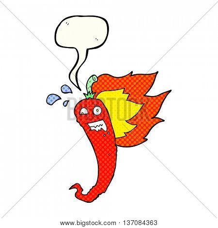 hot chilli pepper freehand drawn comic book speech bubble cartoon