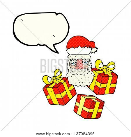 freehand drawn comic book speech bubble cartoon tired santa claus face with presents