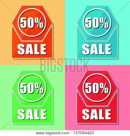 50 percentages sale, four colors web icons, flat design, business shopping concept, vector