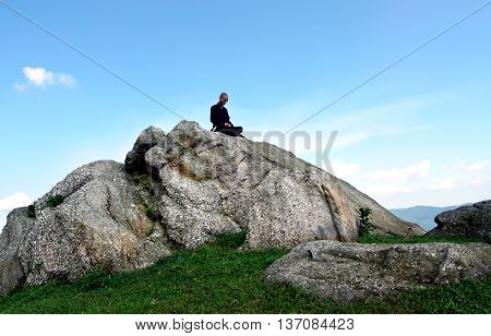 Quang Ninh, Vietnam, June 13, 2016 monks, meditating, Yen Tu mountain-top, Quang Ninh