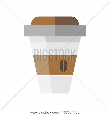 Disposable coffee cup icon with coffee bean logo in flat style - stock vector illustration.