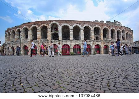 VERONA, ITALY - JULY, 2, 2016: Arena of Verona (in Italian is called Arena di Verona) ancient amphitheatre used today as a stage for concerts and Opera performances