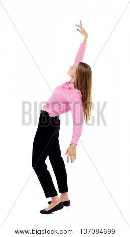 Balancing young business woman.  or dodge falling woman. Rear view people collection.  backside view of person.  Isolated over white background. Woman office worker in a pink shirt falls on his back.