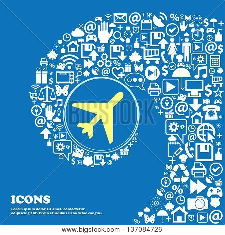 Airplane Sign Symbol. Nice Set Of Beautiful Icons Twisted Spiral Into The Center Of One Large Icon.