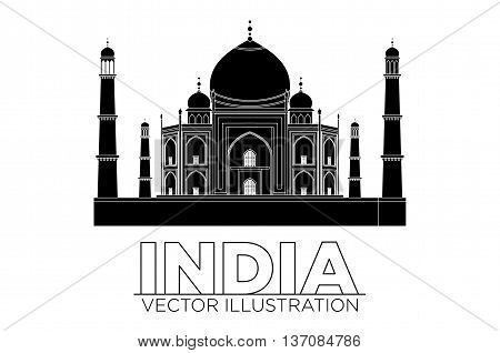 Taj mahal temple silhouette. Vector art India