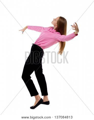 Balancing young business woman.  or dodge falling woman. Rear view people collection.  backside view of person.  Isolated over white background. Woman office worker in a pink shirt leans back heavily.