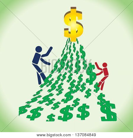 Competition between two men two reach the big dollar.Crave for money.