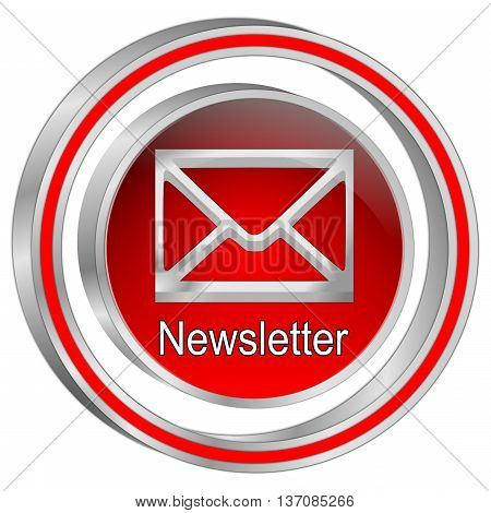 decorative silver red Newsletter Button - 3D illustration