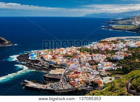 beautiful aerial view of the Garachico town Tenerife Canary Islands Spain