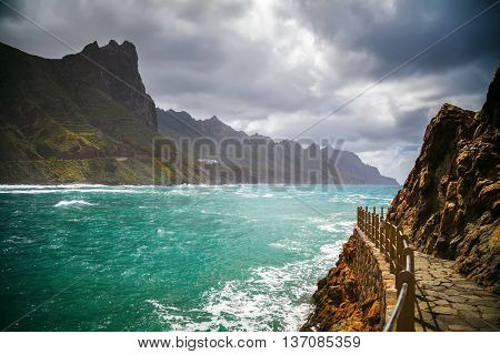 Roque de las Bodegas in Taganana coastline Tenerife Canary Island Spain