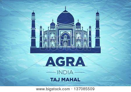 Taj Mahal On Blue Background. Vector Illustration - Eps 10