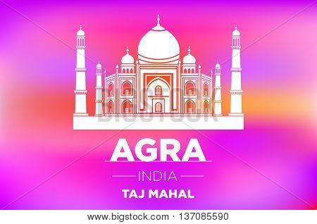 Taj Mahal In Ight On Pink Sunrise Vector