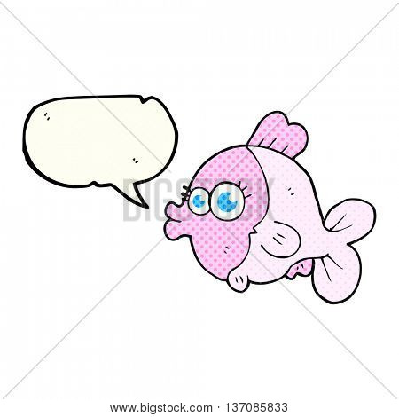 funny freehand drawn comic book speech bubble cartoon fish with big pretty eyes