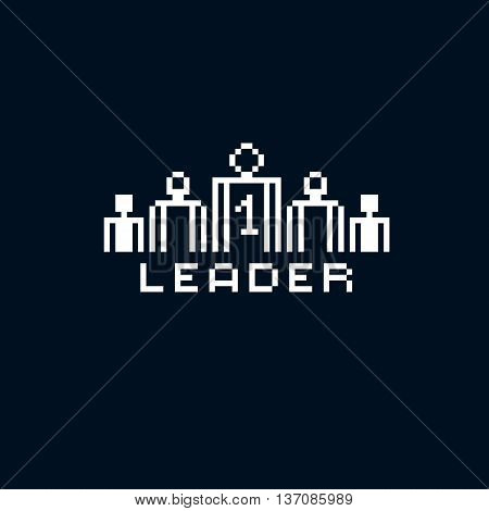 Vector retro sign made in pixel art style. Leadership and teamwork theme geometric pixilated symbol leader number one.