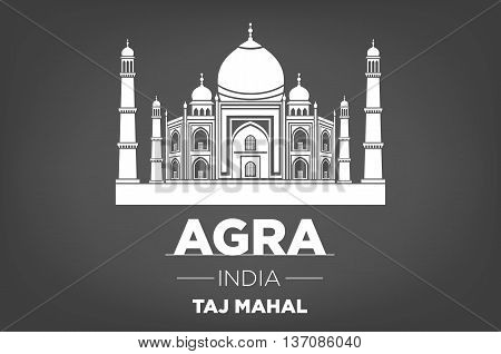 Stencil Of The Taj Mahal On A Gray Background. Vector