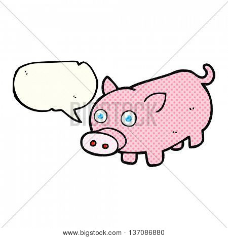 freehand drawn comic book speech bubble cartoon piglet