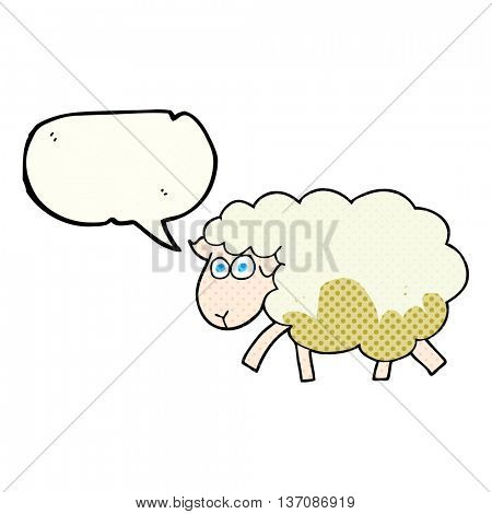 freehand drawn comic book speech bubble cartoon muddy sheep